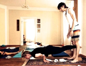David and Hiedi doing some forearm standing.