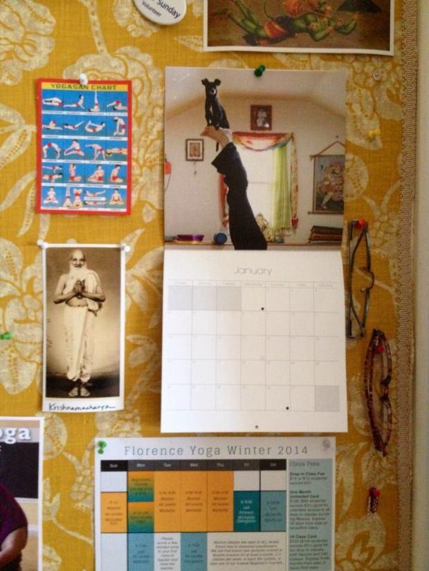 littleman calendar on bulletin board