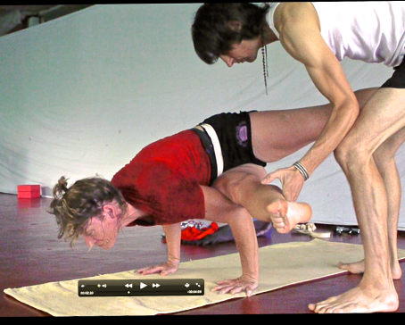 Kovalam quality time with DG.forearm standing with a side leg reach
